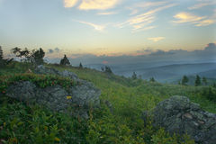 Night is falling in mountains. In the evening in mountains of Kuznetsky Alatau Royalty Free Stock Photography