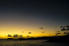 Night Falling Over The Ocean. Sunset over the Caribbean Ocean royalty free stock photography
