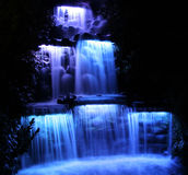Night Falls. Floodlit waterfall in New Plymouth, New Zealand royalty free stock image