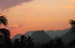 Before the night falls. In Vang Vieng, Laos Stock Images