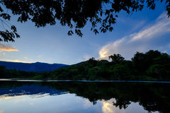 Night Falls in the Amazon Jungle. Exploring the jungle and its hidden places in Venezuela stock image