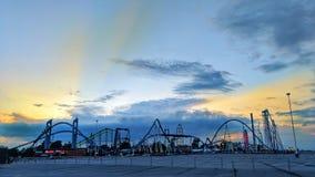 Americas Roller Coast Cedar Point Sandusky Ohio skyline. Night falls on the American thrill seekers rollercoaster playground Stock Photography