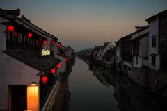 A Cold Winter Night in the Canals stock photography