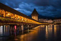 Night falls on the cantrell corridor of lucerne Royalty Free Stock Photos