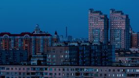 The night falls in the city stock footage