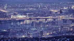 Night Falls On The City, Time Lapse, Night City Lights Panorama, Aerial View stock video