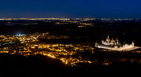 Night falls in El El Escorial. Beautiful view of the Monastery of San Lorenzo de El Escorial Royalty Free Stock Photos