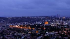 Night falls over Jerusalem city Stock Photos