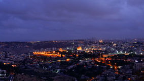 Night falls over Jerusalem city Royalty Free Stock Photos