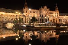 Night at famous Plaza de Espana. In Sevilla, side view Royalty Free Stock Photos