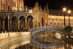 Night at famous Plaza de Espana Stock Photography