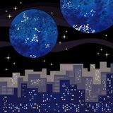 Night fantasy city. View on watercolor planets from night city Royalty Free Stock Image