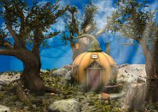 A night fantasy forest with a pumpkin house on it. stock illustration