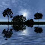 Night fantasy landscape. 3 d graphics night fantasy landscape with  trees reflected in water Stock Images