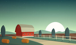 Night Farm Landscape Royalty Free Stock Photography