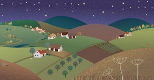 Night farmer lanscape. Vector illustration of a countryside during a night time Stock Images