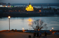 Night Fedorovsky embankment in Nizhny Novgorod Royalty Free Stock Photos