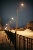 Night. Fence. Latern posts. Royalty Free Stock Photography