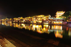 Night of fenghuang ancient town Stock Photos