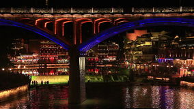 Night Fenghuang City stock video footage