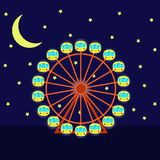 Night Ferris wheel with illumination, vector illustration in cartoon flat style. Ferris wheel, moon and stars. Night Ferris wheel with illumination, vector Stock Images