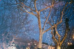 Night festive illumination on the trees, on the background of th royalty free stock image