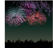Fireworks in the New Year in a big citi. Night festivities and New year celebration Royalty Free Stock Images