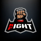 Night fight logo. Night fight. Fighting logo design, on a dark background Royalty Free Stock Photos