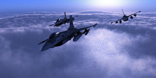 Night fighters. 3d render of fighters over night clouds Stock Images