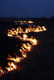 Night fire. In steppes stock image