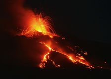 Night on fire. Etna eruption 6 august 2014 Royalty Free Stock Image