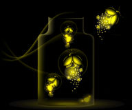 Night fireflies sitting in a glass jar Royalty Free Stock Photography