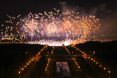 Night firework festival in Moscow stock photography