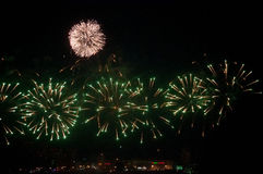 Night Firework. Kazan city, night, firework at the river stock photos