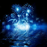 Night firework in sky reflection in water. Illustration Stock Image