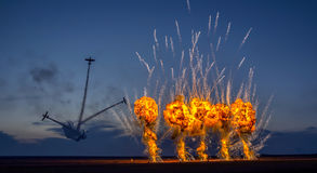 Night fireworks at Aeromania show Royalty Free Stock Images