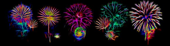 A set of fireworks. Night fireworks different colors on a black background. Can be used for mounting Stock Images