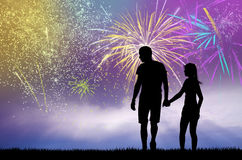 Night fireworks. Illustration of people in the night fireworks Royalty Free Stock Image