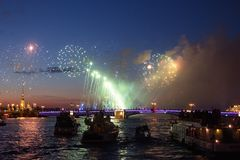 Night fireworks over the water royalty free stock photos