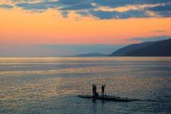 Night fishing Stock Photo