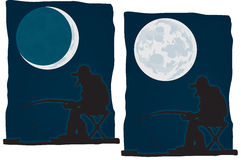 Night fishing. The man is fishing at night. vector Royalty Free Stock Photography