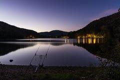 Night fishing adventures. Carp fishing equipment Stock Photography