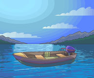 Night fishing with boat colorful illustration Royalty Free Stock Image