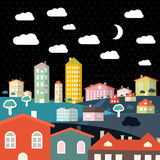 Night Flat Design City Royalty Free Stock Images
