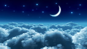 Night flight over clouds vector illustration