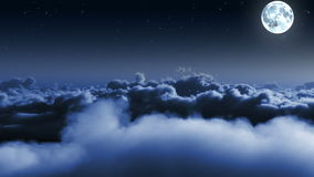 Night flight over clouds with stars and Moon stock video
