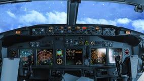 Night flight in the sky stock footage