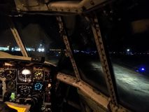 Night Flight to Antartica. A night operation wiht c-130 Hercules Stock Image