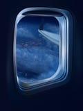 Night flight travel stock photos