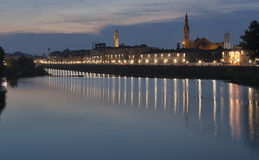 Night Florence cityscape and Arno river Stock Photography
